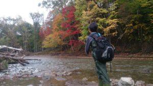 釧路紅葉の中で渓流釣り